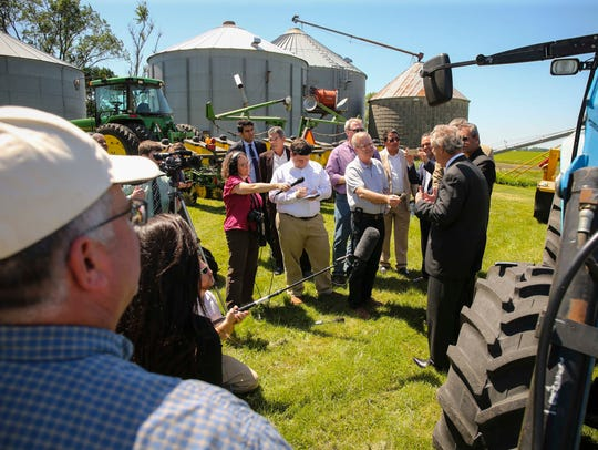 U.S. Agriculture Secretary Tom Vilsack speaks to the