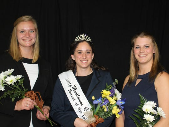 The winner and runners up for the 2016 Manitowoc County Fairest of the Fair pose at the Manitowoc County Expo June 2, 2016. The winner, center, was Nicole Schoenberger. Breanna Glaeser, right, was second runner up and Brooke Roberts, left, was first runner up.