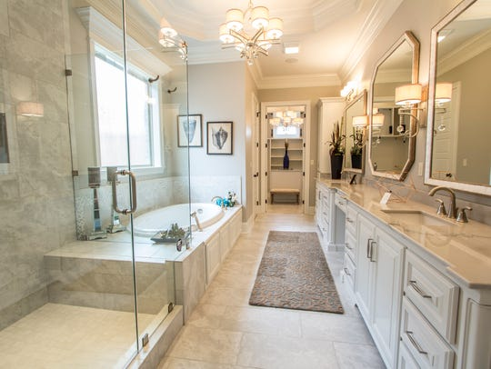 The master bath is soothing and luxurious.