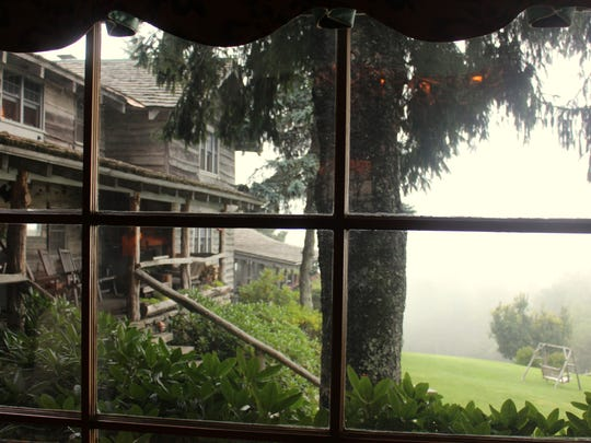 The view from the dining room at breakfast often reveals the fog that gives the Great Smoky Mountains their name.