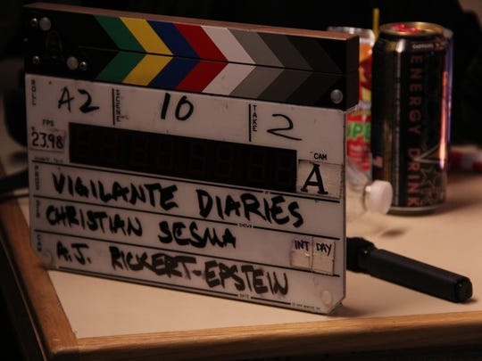 """The clapper board from """"Vigilante Diaries"""" directed by Cathedral City filmmaker Christian Sesma."""