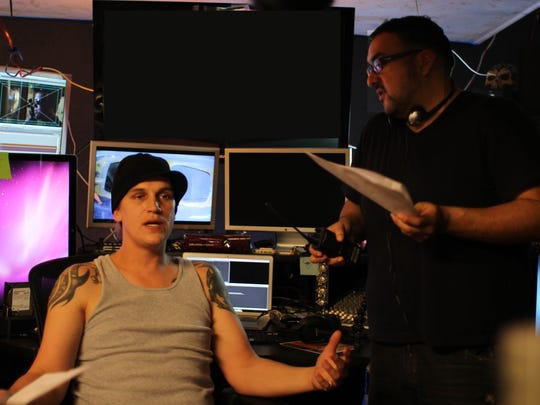 """Actor Jason Mewes on left and director Christian Sesma on the set of """"Vigilante Diaries."""""""