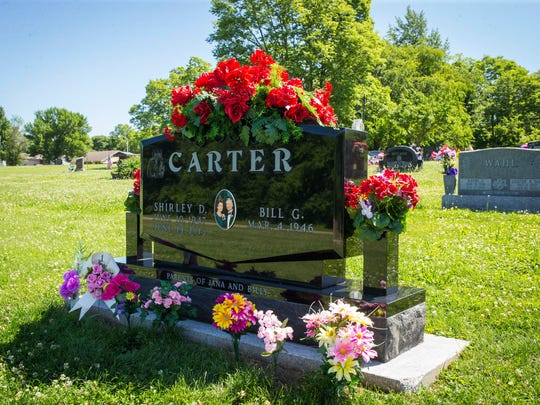 Gravesite for Shirley Carter in the Pleasantville Cemetery Thursday June 16, 2016. Bill Carter's wife Shirley was murdered at their home a year ago June 19. There have been no arrests yet in the case. 