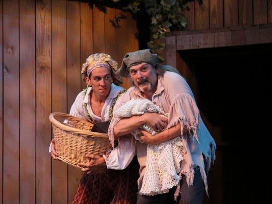 "Zachary Burrell as Clown, the son of the old Shepherd played by John Huffaman in Kentucky Shakespeare's production of William Shakespeare's ""The Winter's Tale."""