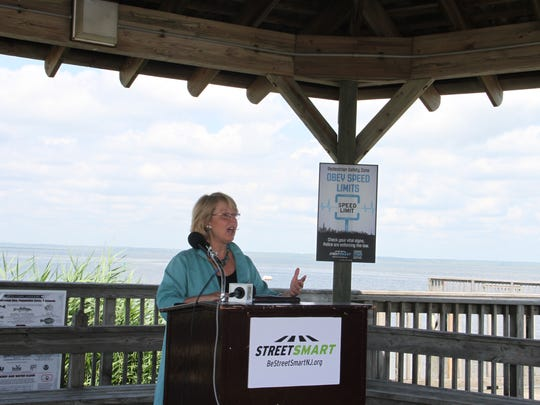 Mary K. Murphy, NJTPA Executive Director, speaking at the Safe Streets NJ Pedestrian Safety Campaign Kickoff in Long Beach Island on June 29.