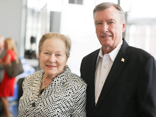 Johnny and Betty Rutherford on May 12, 2015, attending a benefit at the Dallara Indy Car factory in Speedway.