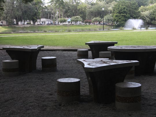 "The ""Source of Life"" tables are near the lake's fountain and gazebo."