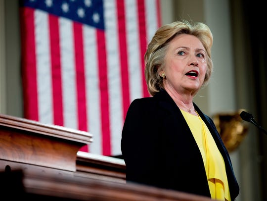 Hillary Clinton speaks in Springfield, Ill., on July