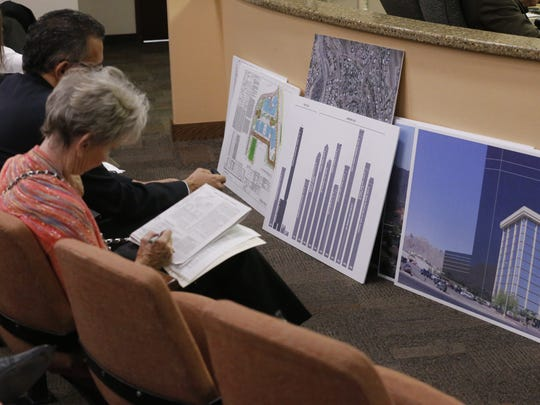 About 50 people on Tuesday attended the El Paso City Council meeting on the 22-story hotel-apartment building proposed for West El Paso.