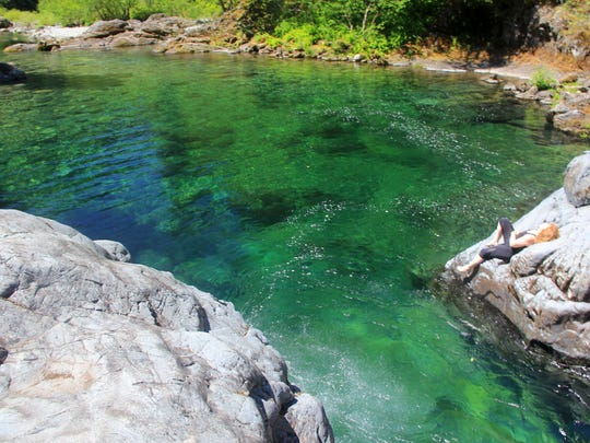 """Waterfall Pool"" is a swimming hole just off the Little North Santiam Trail."