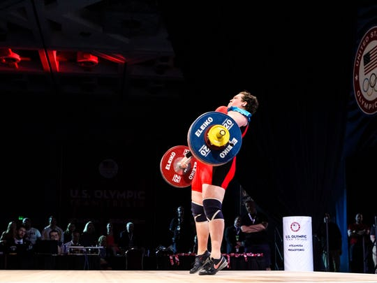 Desert Hot Springs native and Team USA weightlifter Sarah Robles hoists the bar during a recent competition.