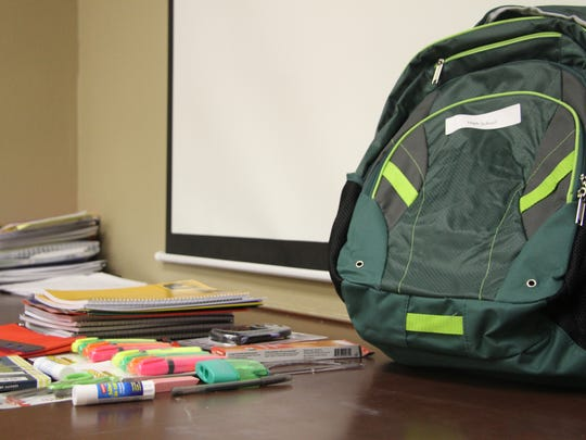 Supplies in the backpacks included pencils, pens, notebooks,