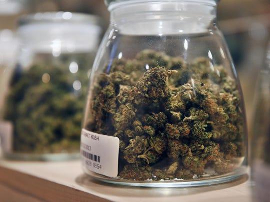 Marijuana is displayed at the River Rock dispensary