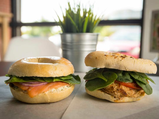Datebook Diner review at 5 Borough Bagels in Clive Wednesday Aug. 10, 2016, lox deluxe sandwich on a plain bagel, left, and  the Brooklyn sandwich, gluten-free plain bagel.