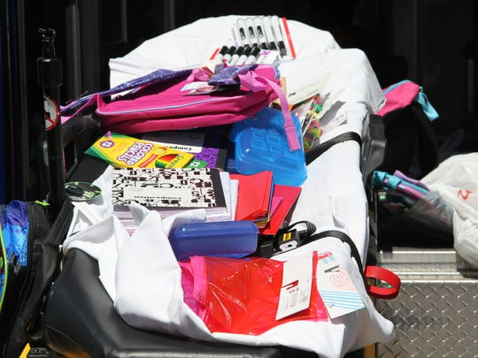 Bacpacks, notebooks, pencils and other supplies were collected at the drive.