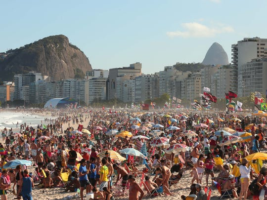 Aug 13, 2016: A general view of the crowds at Copacabana