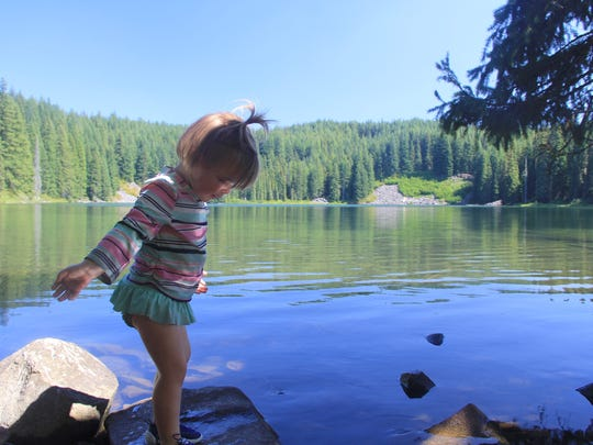 Lucy Urness at Middle Erma Bell Lake in the Three Sisters Wilderness.
