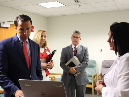 U.S. Rep. Ryan Costello visited WellSpan Good Samaritan Hospital on Thursday, Aug. 25 to discuss the benefits of emerging telehealth technologies in providing effective and efficient patient care. During his visit, he viewed a demonstration of the hospital's telestroke technology, which allows doctors to quickly evaluate and determine the best treatment for stroke patients.  U.S. Rep. Ryan Costello, left, views a demonstration of telestroke technology, provided by Amanda Marbarger, right, stroke program coordinator for WellSpan Good Samaritan Hospital. Looking on are Stephanie Andreozzi, director of cardiovascular service line at WellSpan Good Samaritan Hospital; and Tom Harlow, senior vice president, WellSpan Health, and president of WellSpan Good Samaritan Hospital. Costello, a Republican, represents the 6th Congressional District, which includes parts of Lebanon.