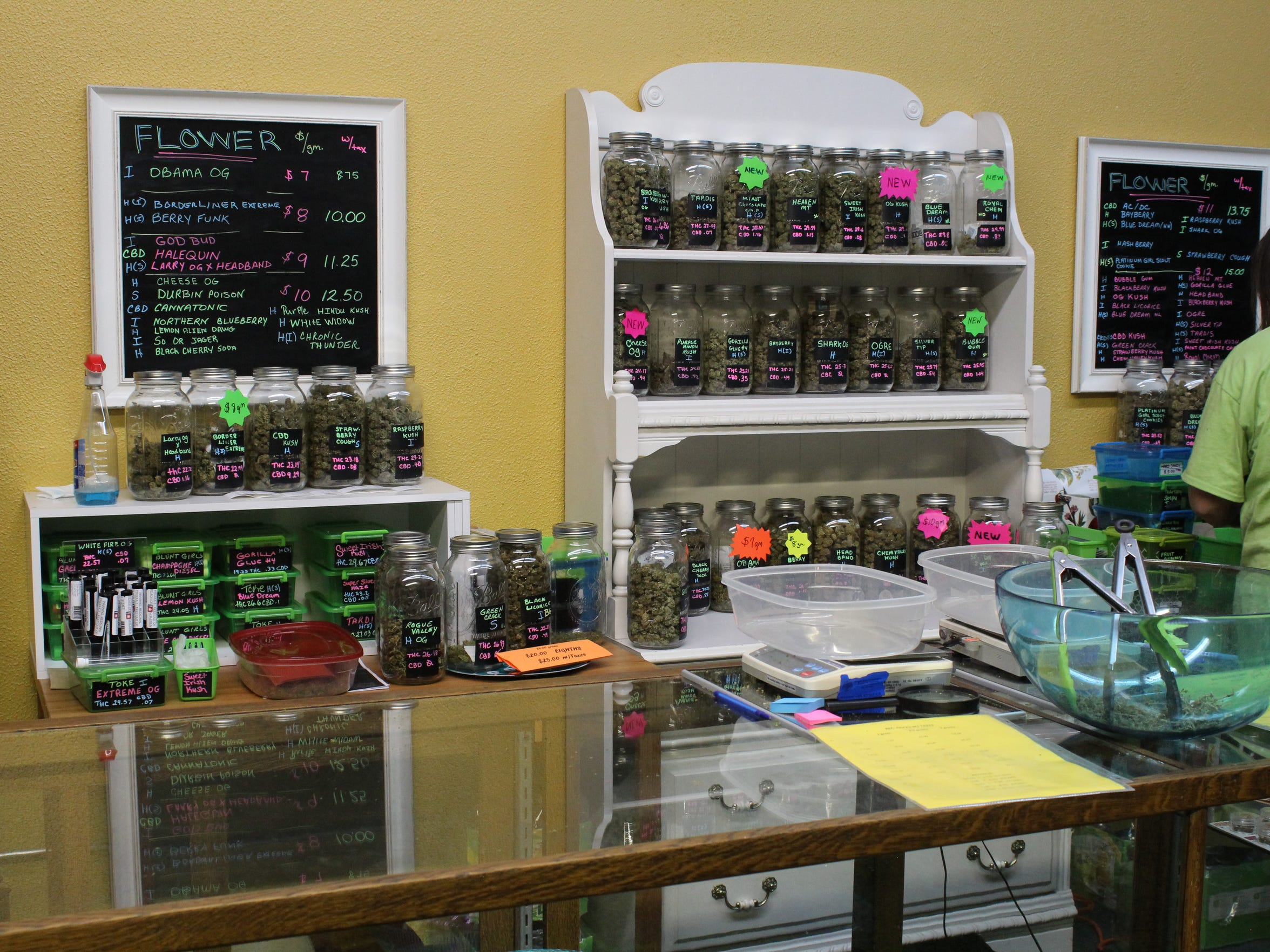 Medical and recreational marijuana buds and products line the inside of West Salem Cannabis.
