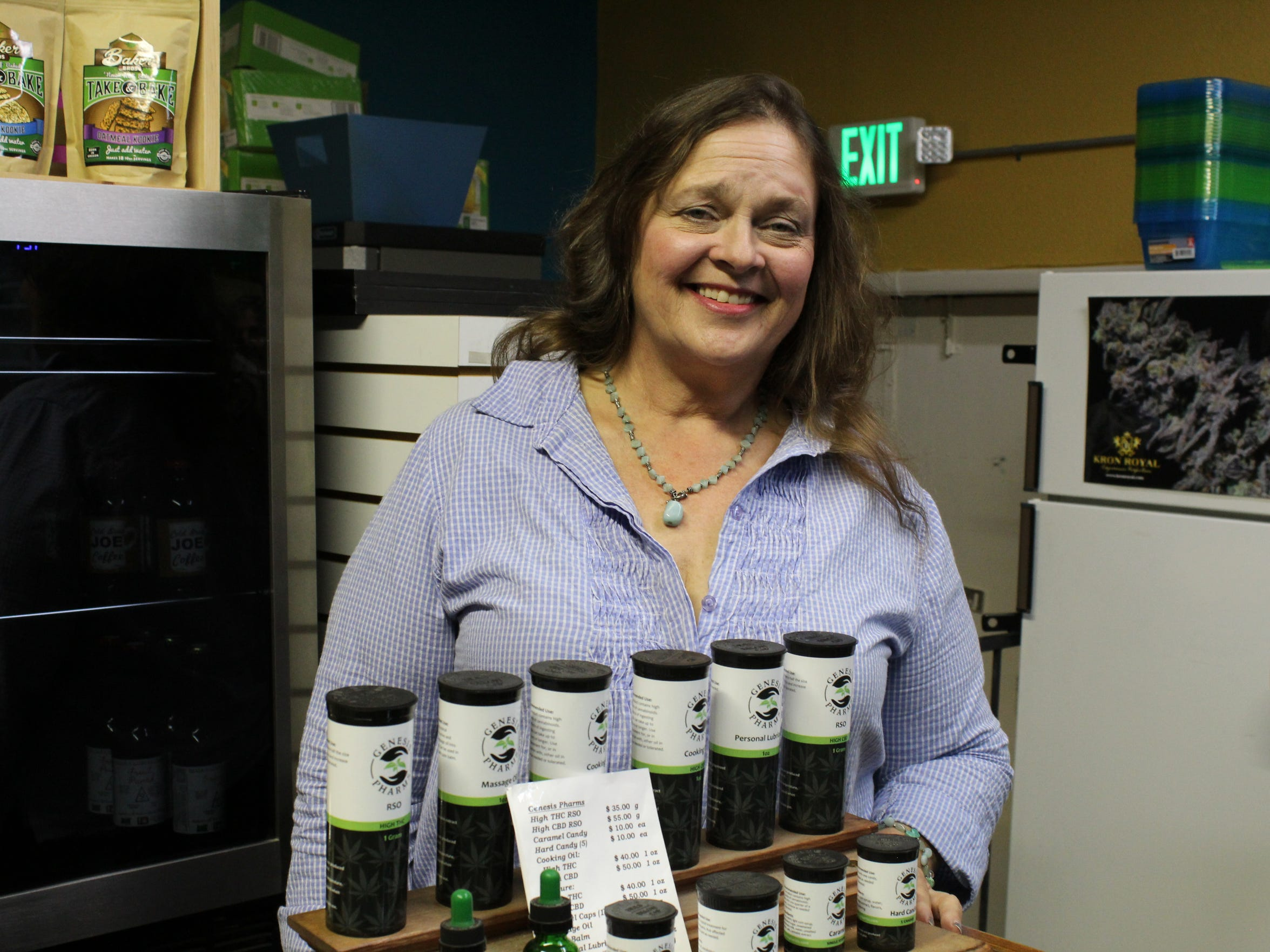 Margo Lucas, the owner of West Salem Cannabis, inside her dispensary. Lucas plans on keeping both recreational and medical once the business switches over to the new OLCC recreational program.