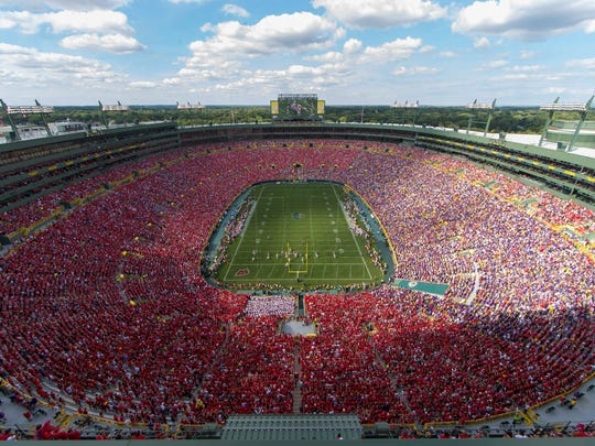 General view of Lambeau Field during the second quarter of the game between the LSU Tigers and Wisconsin Badgers.  LSU lost 16-14.
