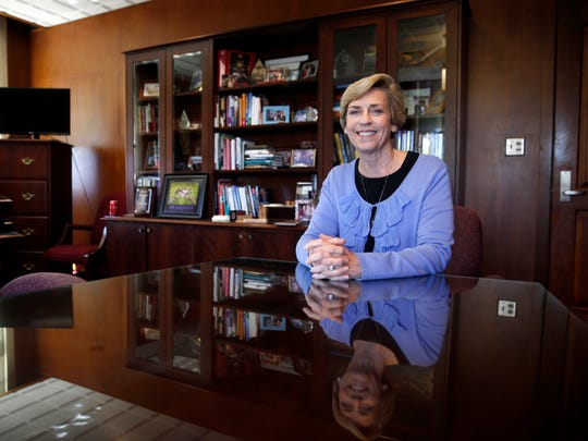 Mary Coburn, FSU's Vice President of Student Affairs, in her office on the school's campus Tuesday, March 22, 2016.