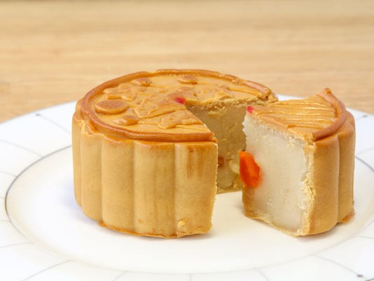 Lotus Seed Mooncake with Egg, Chinese sweet.