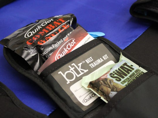 Local law enforcement officers soon will receive training on how to use Quick Clot Trauma Belt Pack, like this one. Proper use of the kit can stop the bleeding from trauma wounds, giving the patient a better chance of survival.
