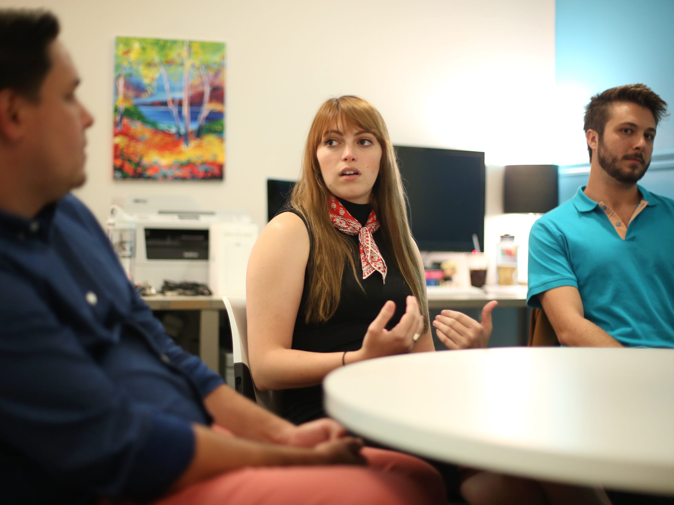 Frank Valcarcel, from left, Emily Morehouse and Nick