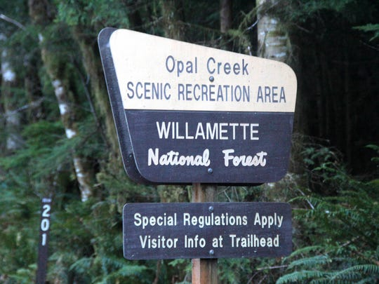 Entering the Opal Creek Scenic Recreation Area.