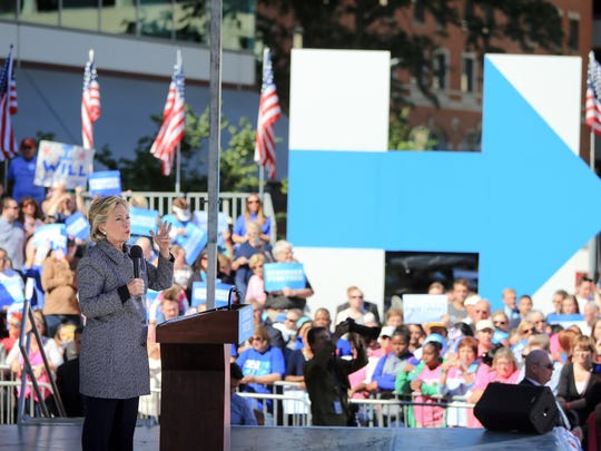 Democratic presidential candidate Hillary Clinton speaks during a campaign stop in Des Moines, Thursday, Iowa, Sept. 29, 2016.