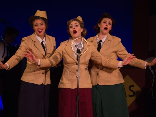 """Allison Fortin, Kathryn Kilger and Eileen Peterson are the Andrews Sisters in """"Sisters of Swing"""" opening this weekend at Circuit Playhouse"""