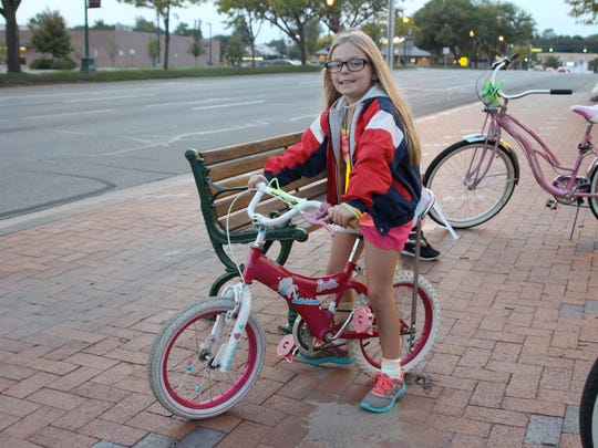 Faith Figueired, 6, of Wayne, is ready to ride with