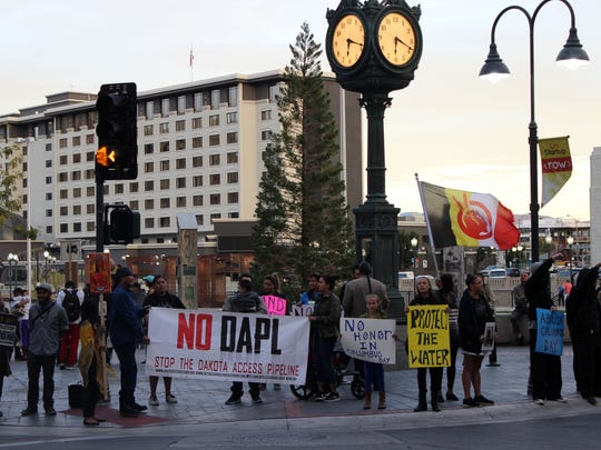 People protesting Columbus Day and the Dakota Access Pipeline on Oct. 10, 2016.