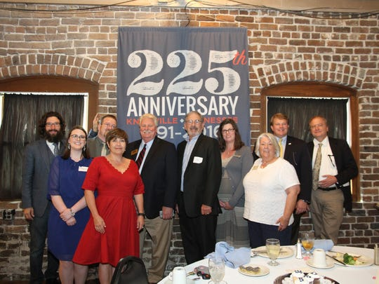 Representing the historic homes in Knoxville at the 225th Founders Day Luncheon are  Calvin Chappelle from Mabry Hazen House, Caroline Grimm from Crescent Bend House, DaVid Hearnes from Blount Mansion, Kim Trent from Historic Westwood, Sam Maynard from James White's Fort, Bill Landry from WBIR's Heartland Series, Anna Chappelle from Marble Springs State Historic Site, Judy LaRose from Historic Ramsey House, Brett Grimm from Crescent Bend House and Jack Neely from the Knoxville History Project.