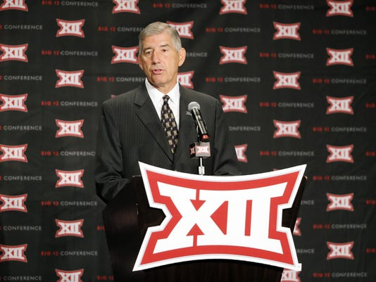Big 12 Conference commissioner Bob Bowlsby speaks to the media during the conference's football media days July 18 in Dallas.