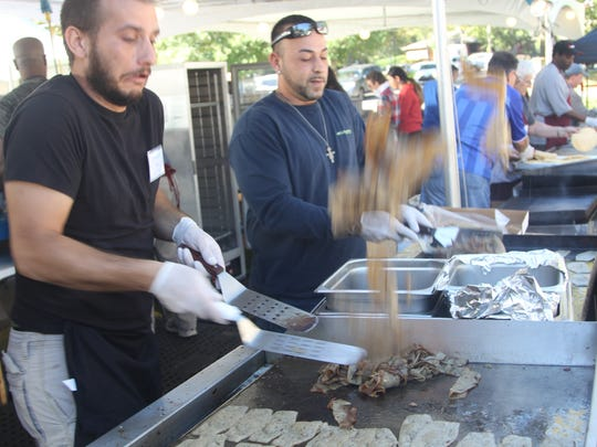 Gyros are made at the Greek Food Festival.