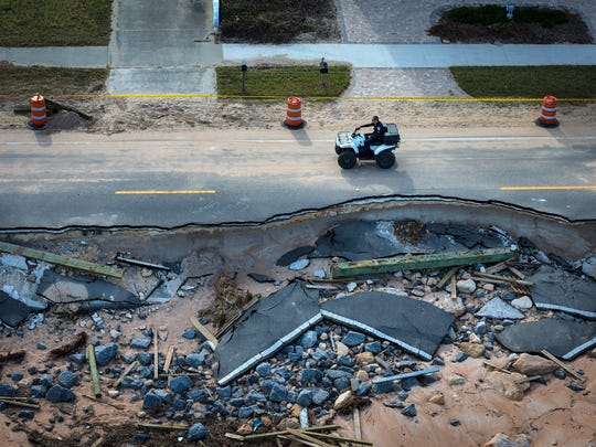 A section of State Road A1A in Flagler County was damaged by erosion when Hurricane Matthew plowed up the east coast of Florida in October.