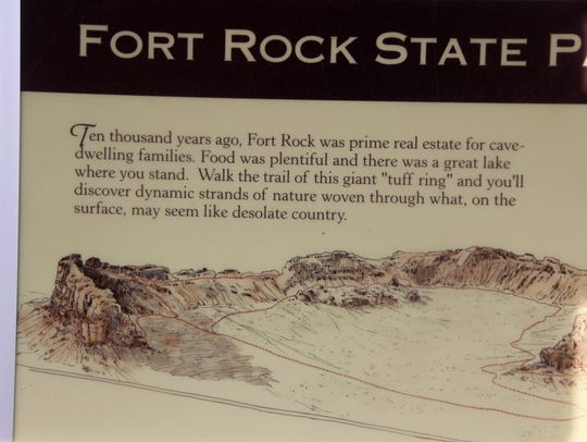 Signs at Fort Rock State Natural Area.