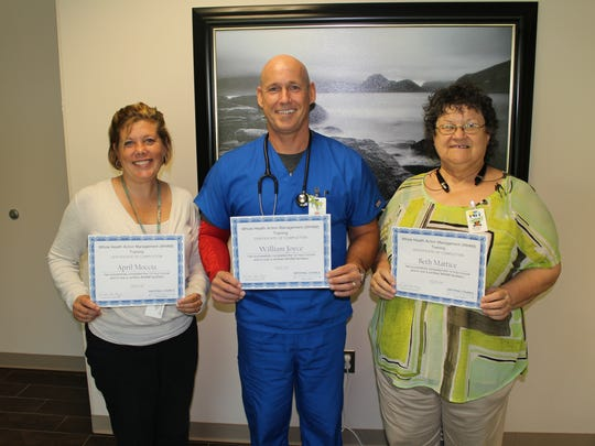 New Horizons Peer Specialist April Moccia, Primary Care Clinic Program Director William Joyce, PA, and Peer Specialist Beth Mattice