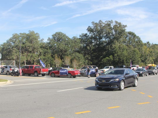 Trump devotees lined up early for his rally at the Tallahassee Automobile Museum.