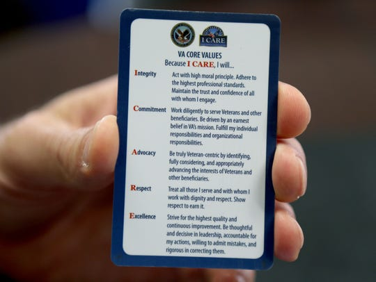 David Wood carries in his pocket the VA's core values