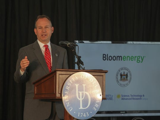 Then-Delaware Gov. Jack Markell speaks at the Bloom Energy groundbreaking ceremony on property of the former Chrysler Plant, now owned by the University of Delaware, Monday, April 30, 2012. Bloom makes solid-oxide fuel cells, which use natural gas to produce an electrochemical reaction to produce electricity, emitting fewer pollutants than burning the gas.