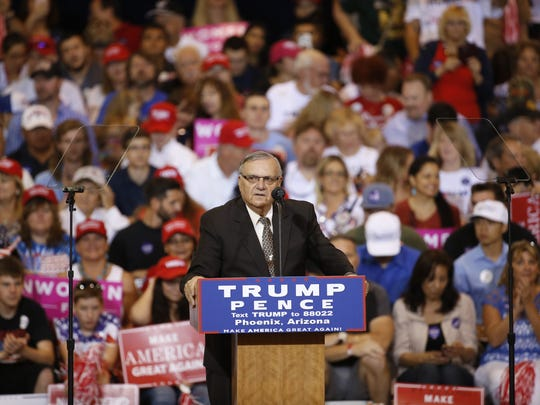 Sheriff Joe Arpaio speaks in support of Republican  presidential candidate Donald Trump before a rally at the Phoenix Convention Center on Oct. 29, 2016 in Phoenix.