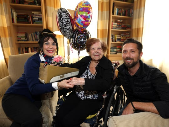 Gertrude Barry, celebrating her 105th birthday at  CareOne in Morristown with her niece Lani Trebitz-Sensenbrenner and her son Eric of Fort Lauderdale, FL. November 3, 2016, Morristown, NJ.