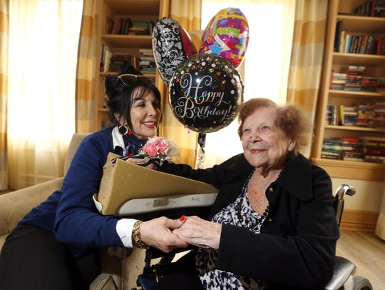 Gertrude Barry, celebrating her 105th birthday at