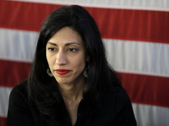 Seth Wenig,  AP Huma Abedin In this April 17, 2016, file photo, Huma Abedin, aide to Hillary Clinton, attends a rally in Staten Island, New York.