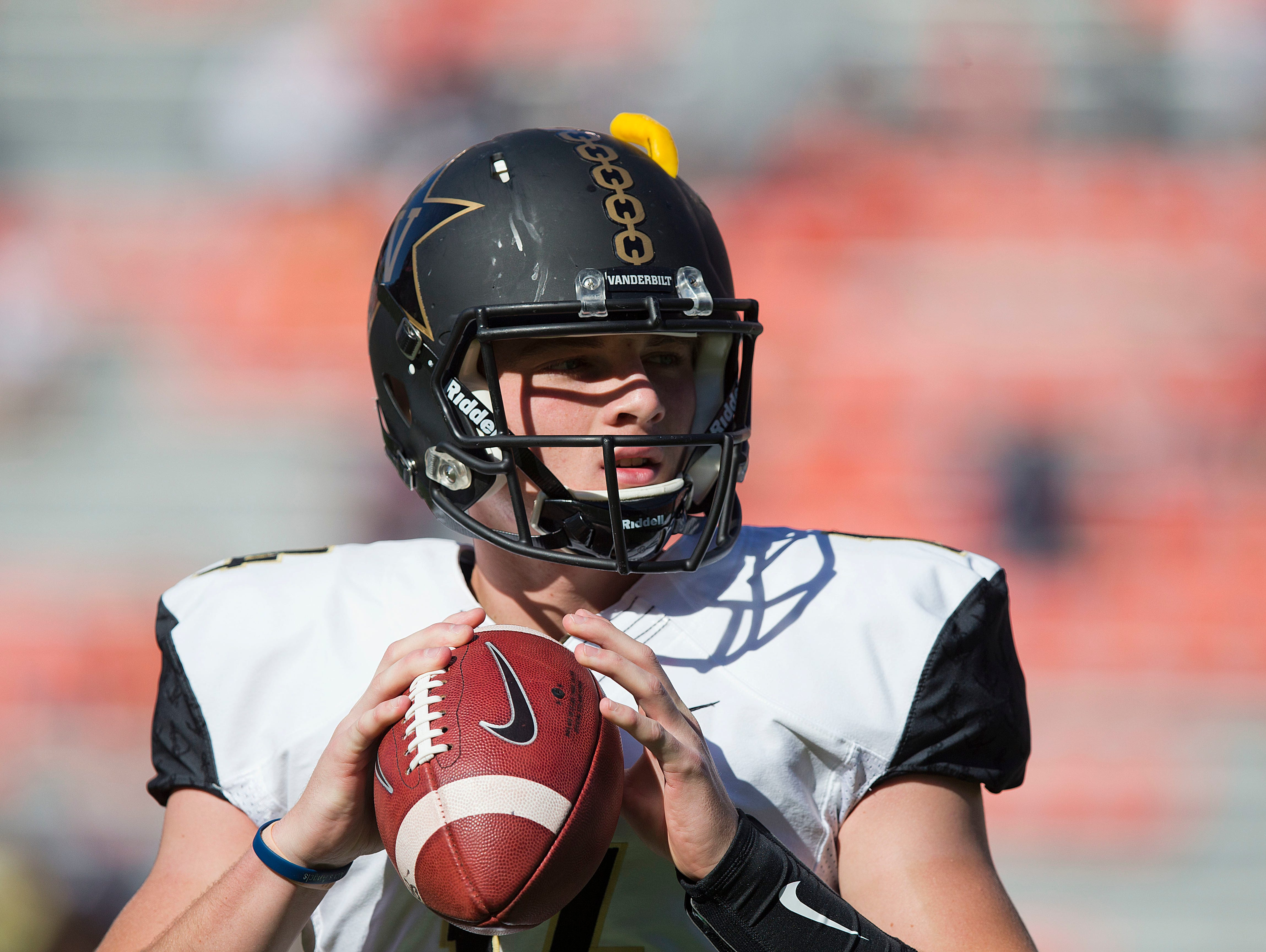 Vanderbilt quarterback Kyle Shurmur sets back to pass the ball during practice before the first half of an NCAA college football game against Auburn, Saturday, Nov. 5, 2016, in Auburn, Ala.