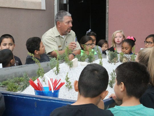 Michael Salmon educates students on trees and forest fires.