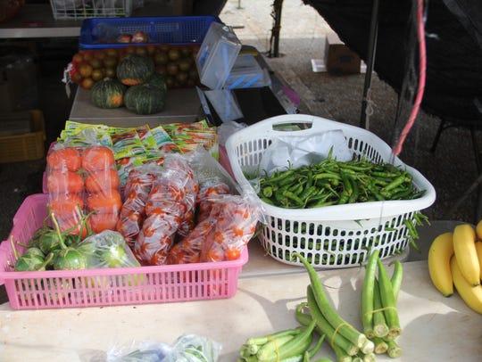 Fresh produce sits on display at the Dededo Flea Market